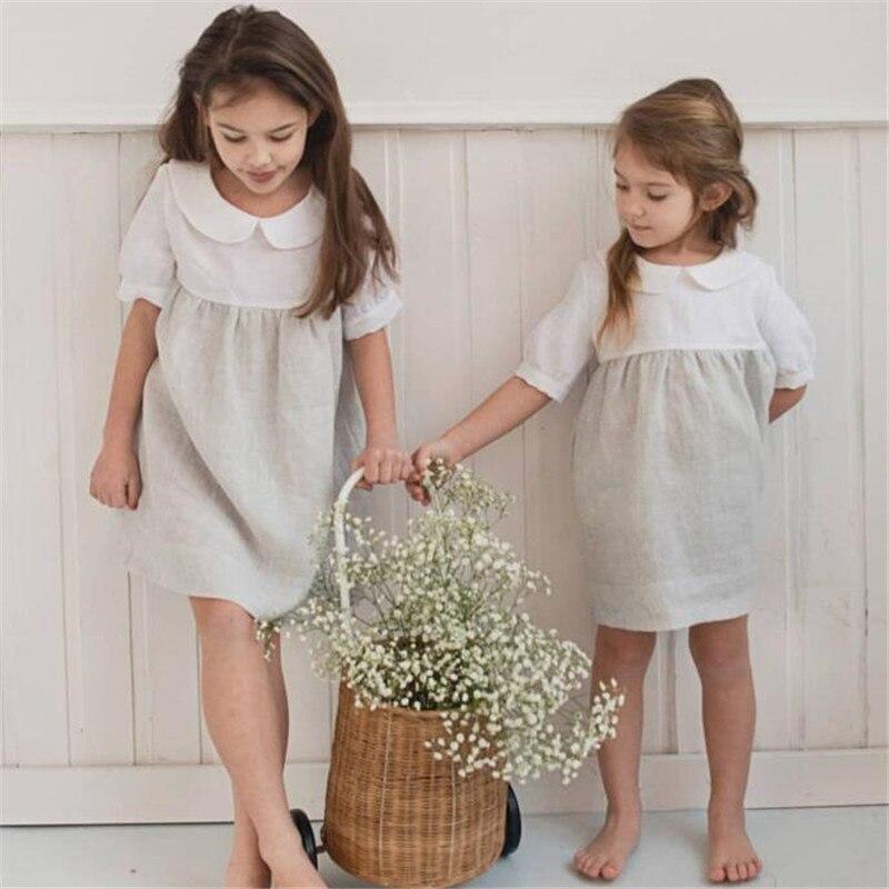 EnkleiBB Kleinkind Mädchen Strand Kleidung Schöne Leinen Kleider Baby Mädchen Knie Länge Kleid Peter Pan Kragen Kinder Sommer Langes Kleid