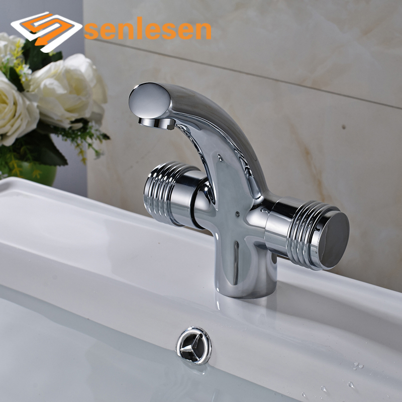 Best Quality Basin Dual Handles Water Taps Chrome Finish Deck Mounted Bathroom Faucet цена