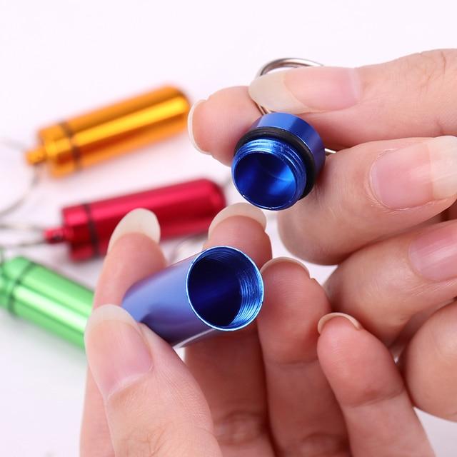 New High Quality Portable WaterProof Mini Blue Aluminum Keychain Tablet Storage Box Bottle Case Holder