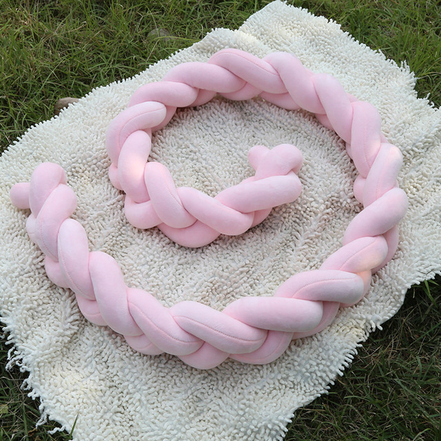 Ins Nordic Plush Stuffer Long Knotted Braid Pillow Baby Crib Bumper Cushion Set Plush Knot Pillow Baby'S Room Decoration Nordic 2