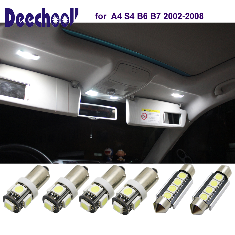 deechooll 6pcs Car LED Light for Audi A4 S4 B6 B7, Cold White Interior Lighting Bulbs for Audi A4 S4 02-08 Dome Reading Lights *