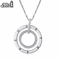 Effie Queen New Round Double Circles Pendant Long Necklace Women White Gold Chain Fashion Jewelry Wholesale