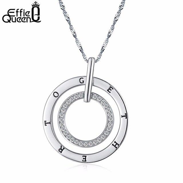 Effie Queen New Round Double Circles Pendant Long Necklace Women