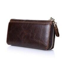 Men's vintage Clutch long Wallets Genuine Leather men business clutch