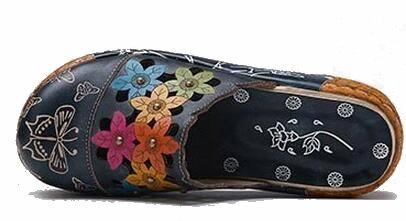 Style Bleu Femmes Main Diapositives Pantoufle Compensées À La Cuir 2019 En D'été Ethnique Sandales Fait forme Fleur De Chaussures Véritable Plate KJ3lF1uTc