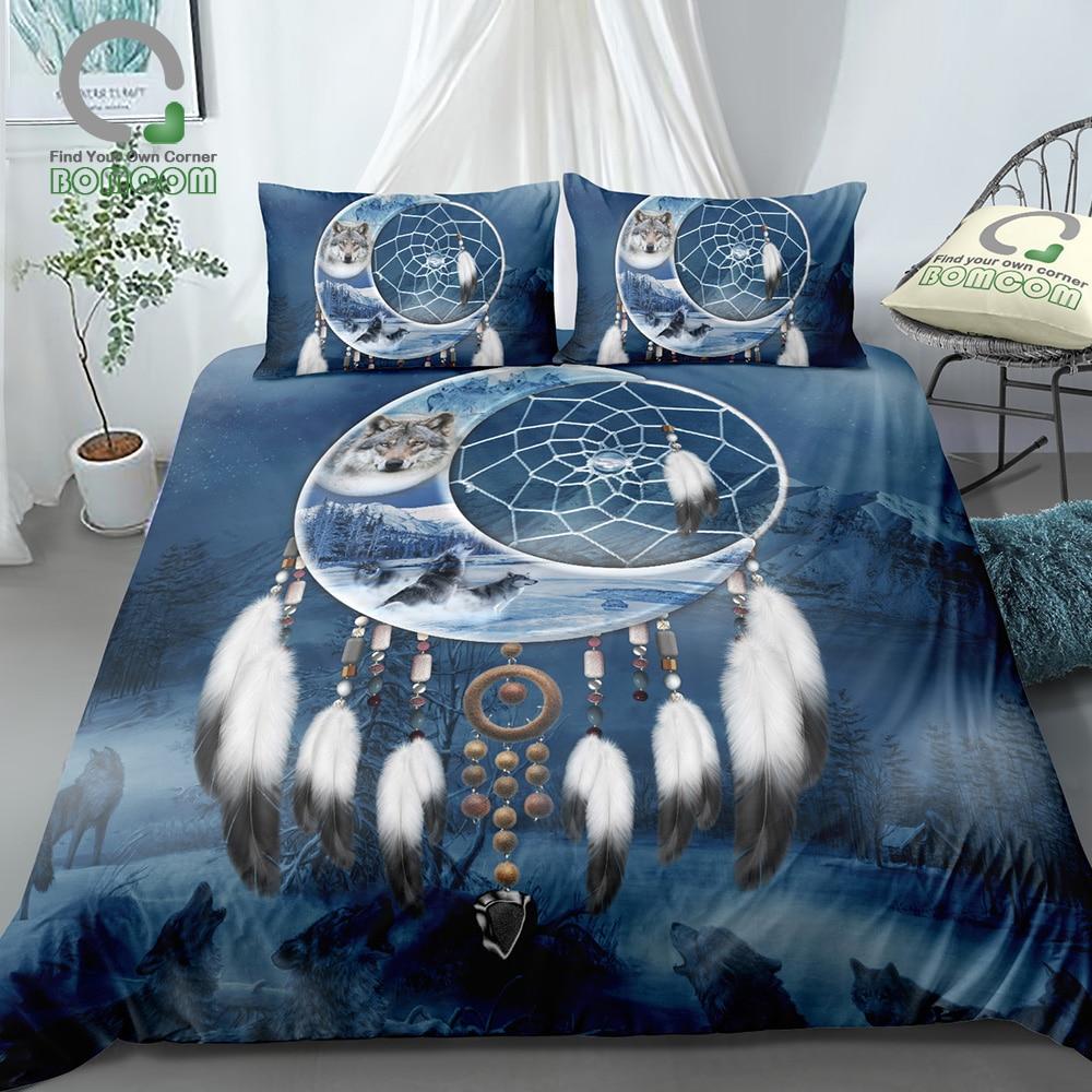 BOMCOM 3D Digital Printing Vintage Bohemia Moon Dream Catcher Howling Wolf King Wolves Snow Mountain Bedding