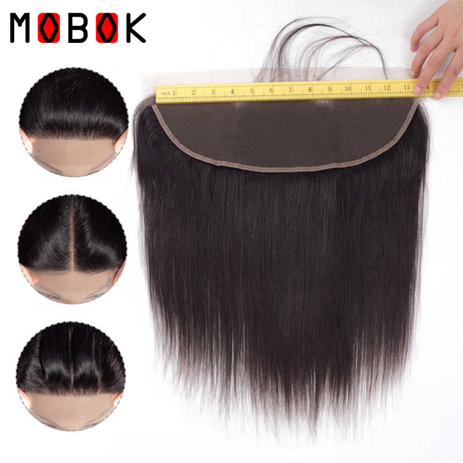 MOBOK Hair Peruvian Straight Human Hair Lace Frontal Closure 13x4 With Baby Hair Free Part Side 130% Density Medium Brown 100g