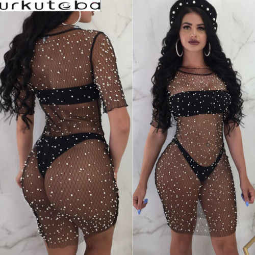 0ce2ab38a9 ITFABS New Sexy Women Pareo Beach Cover Peal Bathing Suit Hollow Out Lace  Crochet Bikini Swim