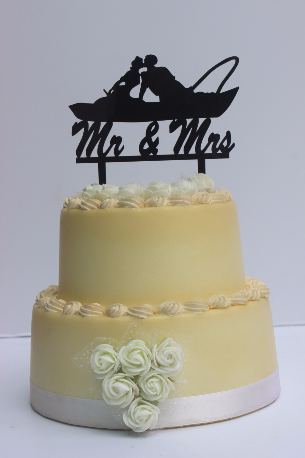 Funny Fishing Couple in Boat Kissing Wedding Cake Topper Script Mr ...