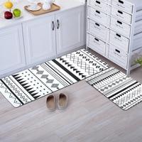 Black and white rug geometric door mat kitchen carpet Entrance/Hallway Doormat Anti Slip Bathroom Carpet 50X80+50X120CM/Set
