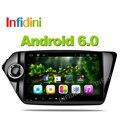 Infidini android 6.0 navegación del coche dvd gps reproductor de vídeo del coche 9 pulgadas 1024*600 para Kia k2 RIO 2010 2011 2012 2013 2014 2015