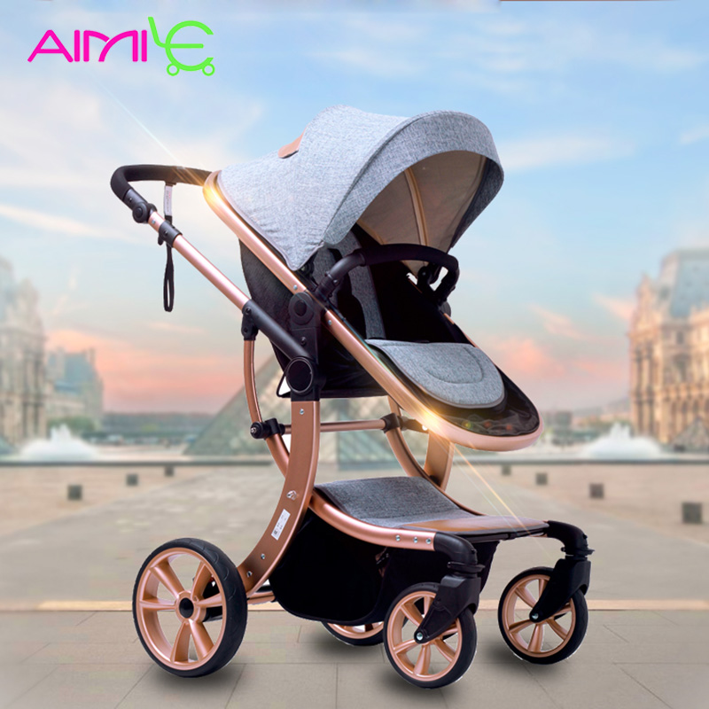Aimile baby stroller 2 in 1 High landscape Multifunctionc can sit or lie folding four seasons Russia free shipping все цены