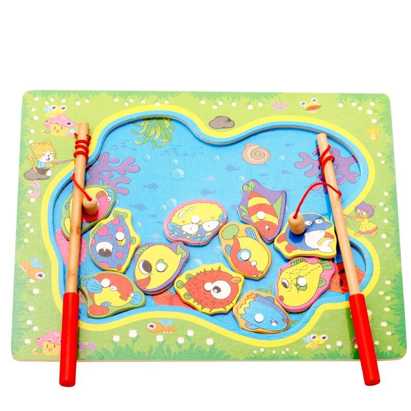 Magnetic Go Fishing Board Game Wood Toys Baby Intelligence Educational Toys Boy Girl Kids Toys Montessori Puzzles XWJ310-
