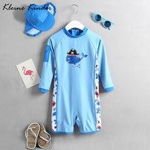 0c83b952b 0-T 7 T niños traje de baño azul de manga larga una pieza bebé niño traje  de baño con sombrero protector solar uv proteger playa.