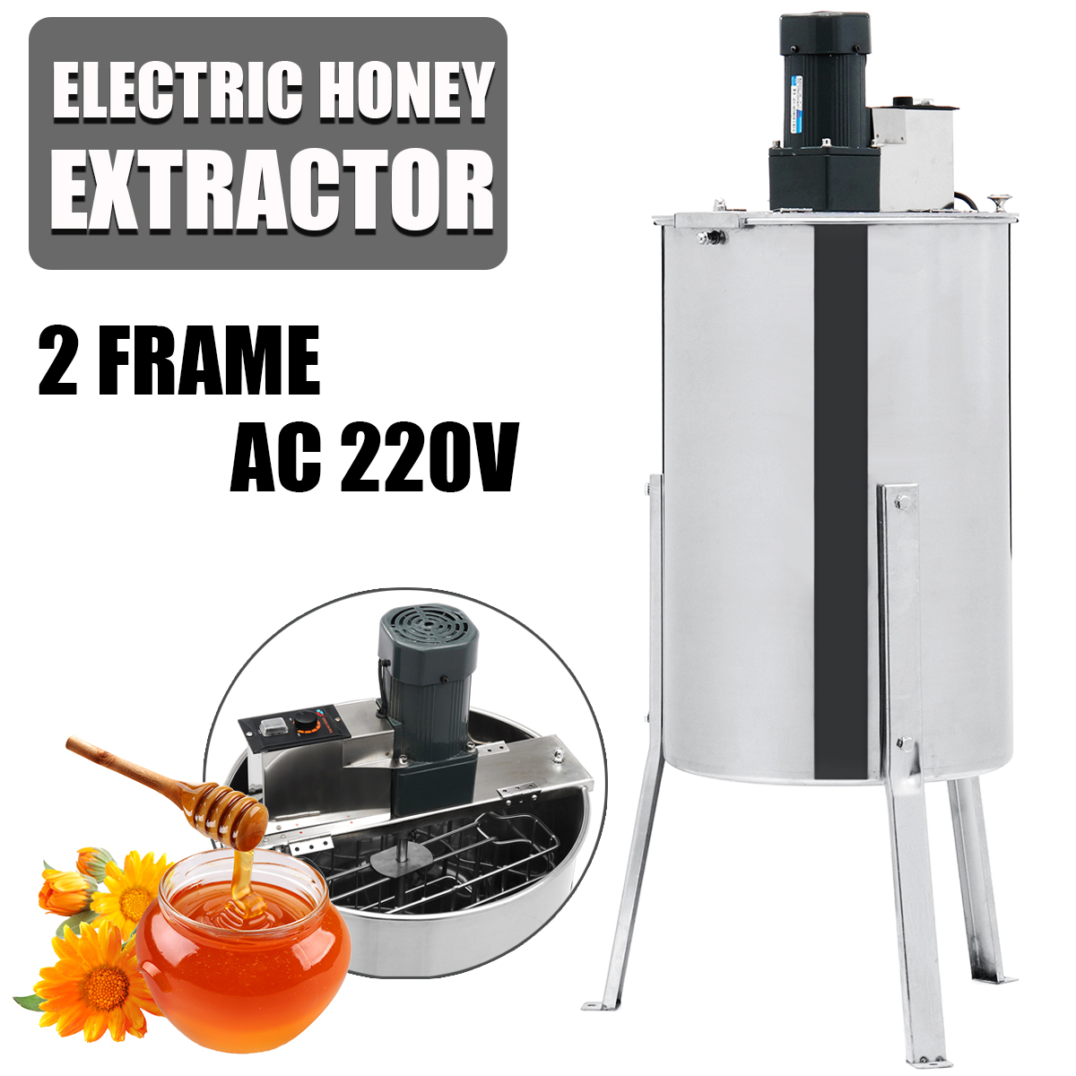 2 Frame Bee Manual Honey Extractor Beekeeping Tool Box Electric Stainless Steel Beekeeping Equipment Honey Extractor Supplies