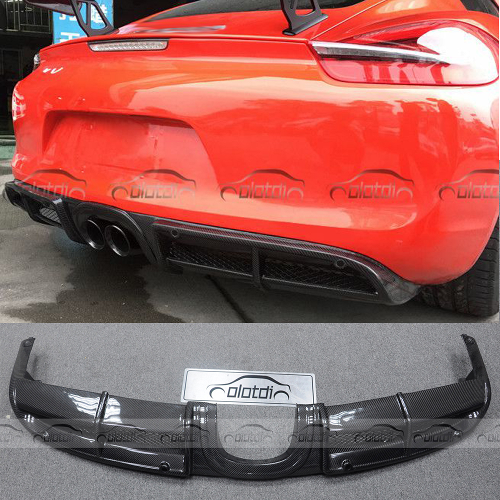 Углеродного волокна автомобилей Стайлинг задний диффузор для губ сплиттер бампер для Porsche Cayman 981 Boxster GT4 2014 2016