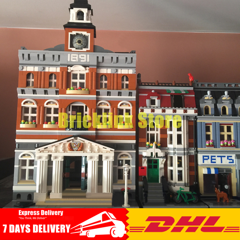 DHL Lepin City Street Series 15003+15009 Building Blocks Bricks Model Toys For Children Birthday Gifts Clone 10224 10218 lepin 15003 town hall lepin 15009 pet shop supermarket city street model building blocks bricks lgoings toys clone 10224 10218