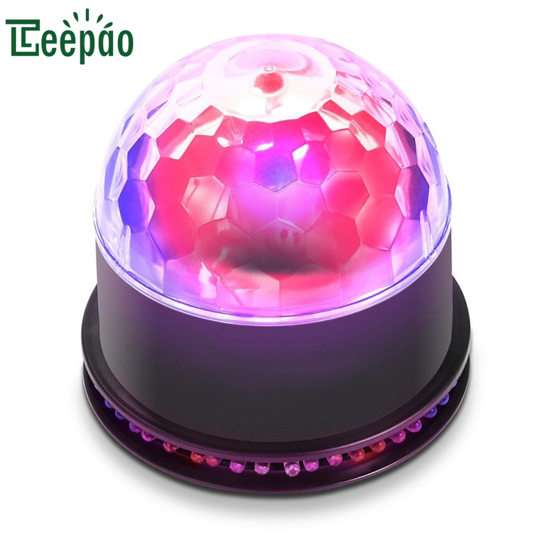 RGB LEDs Stage Light 7 Color Changes Voice Activated Mini Rotating Crystal Disco Magic Ball Light For KTV Party Stage Light