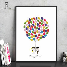 Bride And Groom Catching The Pretty Balloons Canvas Print  Name Date Fingerprint Signature Guest Book For Wedding Party Decor wedding balloon canvas print diy fingerprint signature guestbook for wedding bride groom custom name date party decor
