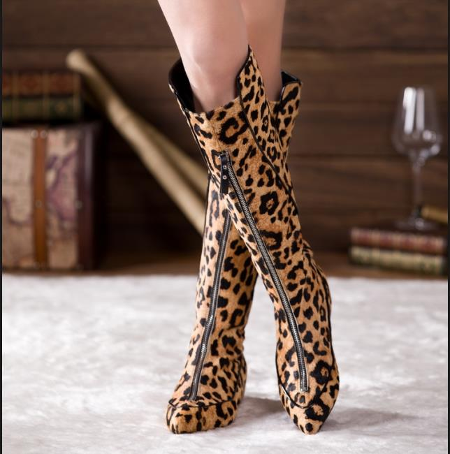 Femmes Chevalier Chaussures Bottes Augmenter Léopard Printemps Pic Mode Sexy Zapatos Pic Confortable Zipper Bout Automne as Mujer As Pointu dYqzF0nwzr