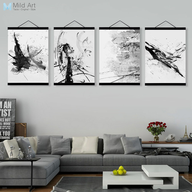 Abstract Chinese Ink Splash Wooden Framed Canvas Paintings Modern Vintage  Living Room Decor Wall Art Print
