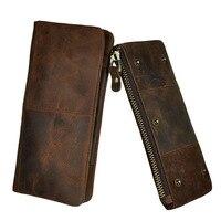 Vintage Lederen mannen Lange Clutch Wallet Cash Dollar Purse Coin Bag Creditcardhouder Pack Mobiele Telefoon Case Cover