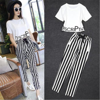 Two Piece Set 2016 New Fashion Lovely Printing Letter Stripe Haren Pants 2 Piece Set Women