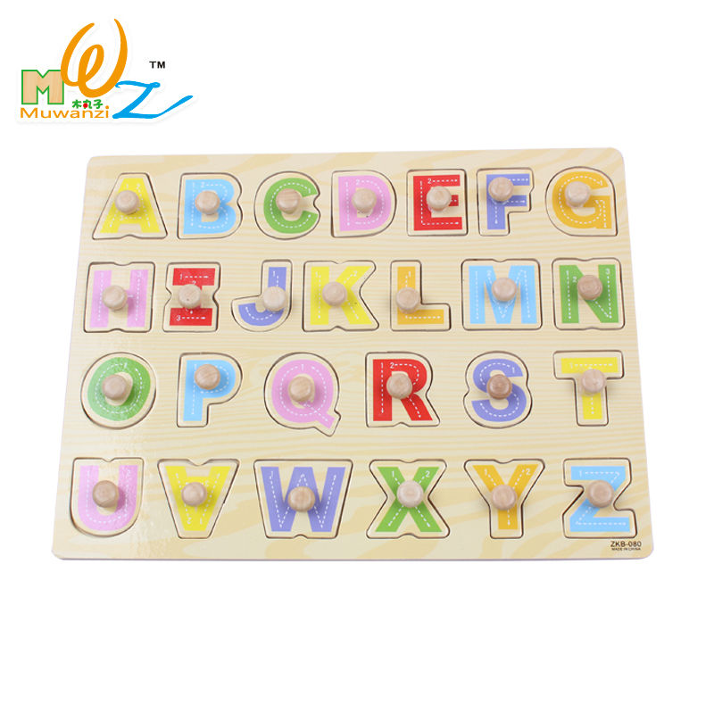free shipping alphanumeric makeup kids wooden puzzles 2pcs childrens early education teaching aid toys