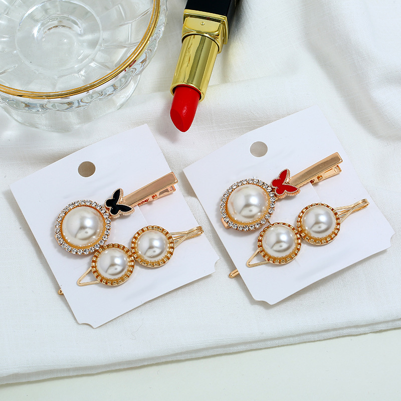 2Pcs/set Lady Combination Romantic Siumlated Pearl Side Alloy Clip Gift Hair Accessories Simple Hair Clips Handmade jewelry(China)