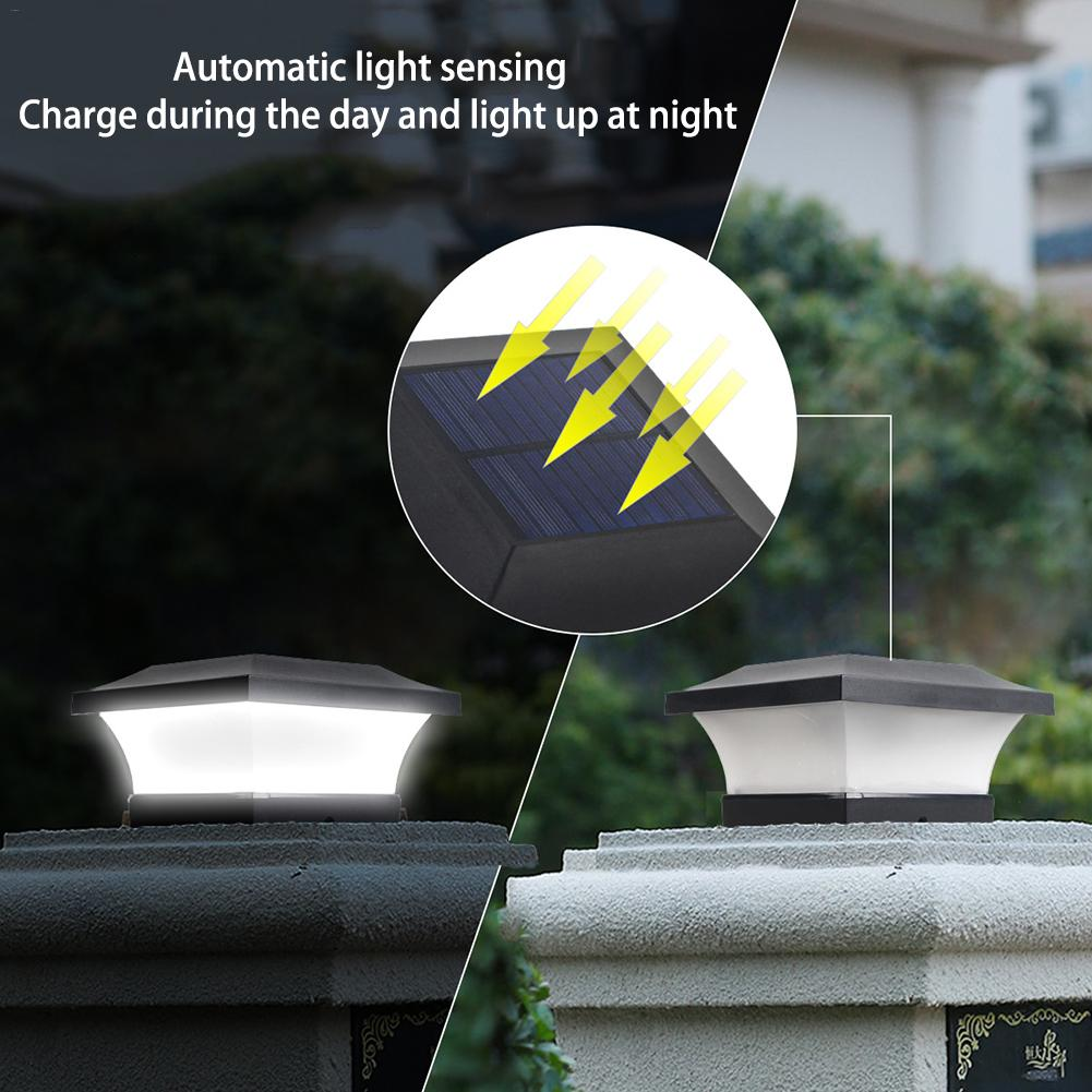 LED Solar Power Square Post Lights Waterproof Column Light For Outdoor Garden Garden Wall Lamp