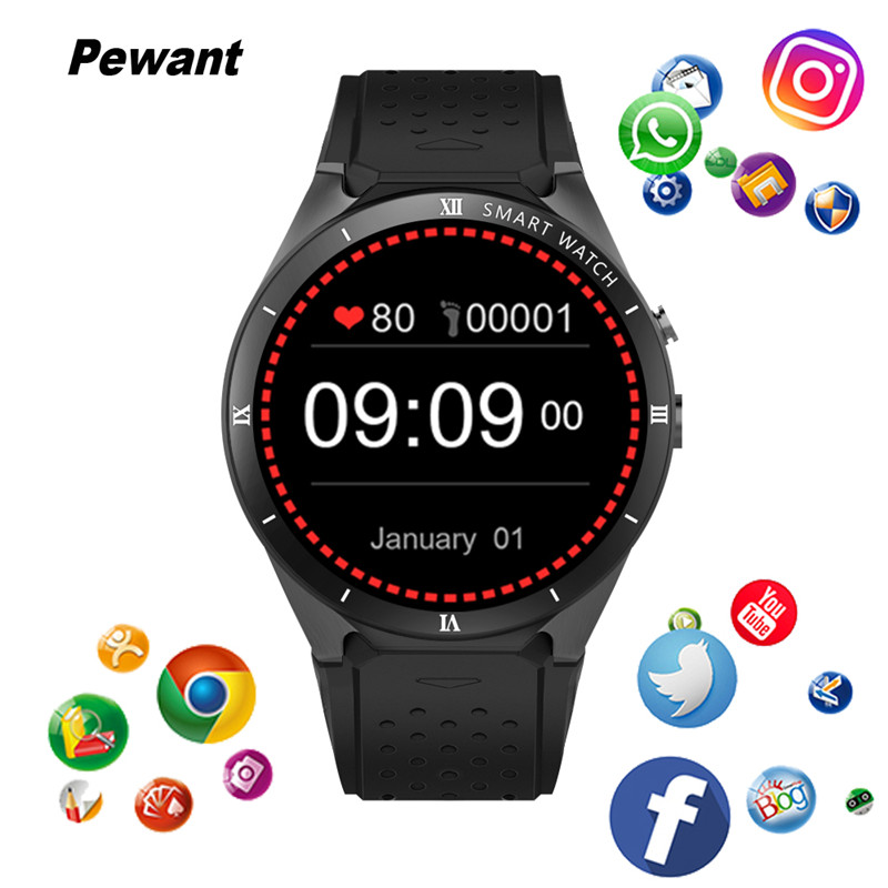 Pewant KW88 PRO 3G GPS WIFI Smart Watch Android 7.0 With Camera 1GB RAM 16GB ROM Smartwatch Heart Rate For Xiaomi Huawei цена