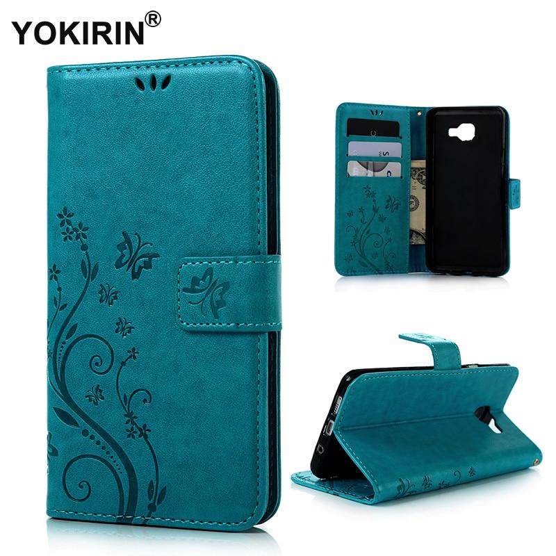 7b75d2d579 Yokirin mariposa impresión libro Flip Funda de cuero para Samsung Galaxy A7  2016 A7100 A710F teléfono piel con soporte de tarjeta caso