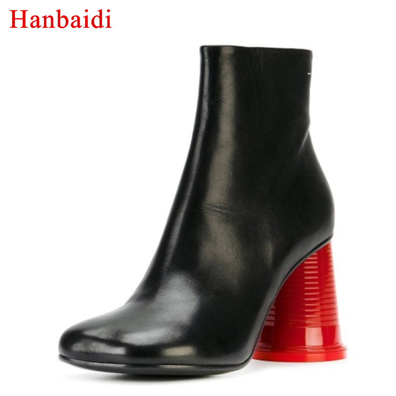 Real Leather Red Cup Heel Ankle Boots Women Square Toe Strange Heel Shoes Woman Runway Style Women Outdoor Fashion Martin Boots trusify 2017 oh attraction cow leather ankle zip short boots square toe med strange style european style boots