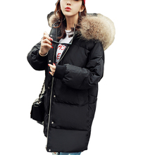 new Cloak ultra keep warm Wadded Jackets Parkas new white Down Jacket loose thick Winter Women Hooded Coats large Fur collar