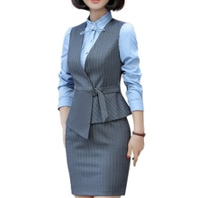 2018 new fashion and elegant women skirt vest suit for summer short suits work wear office ladies formal suit stripe clothes