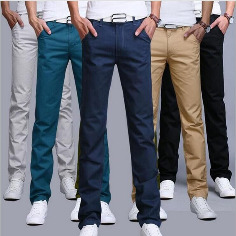 TANGYAXUAN Men Pants Trousers Business Slim Khaki Straight Cotton Casual Fashion New-Design
