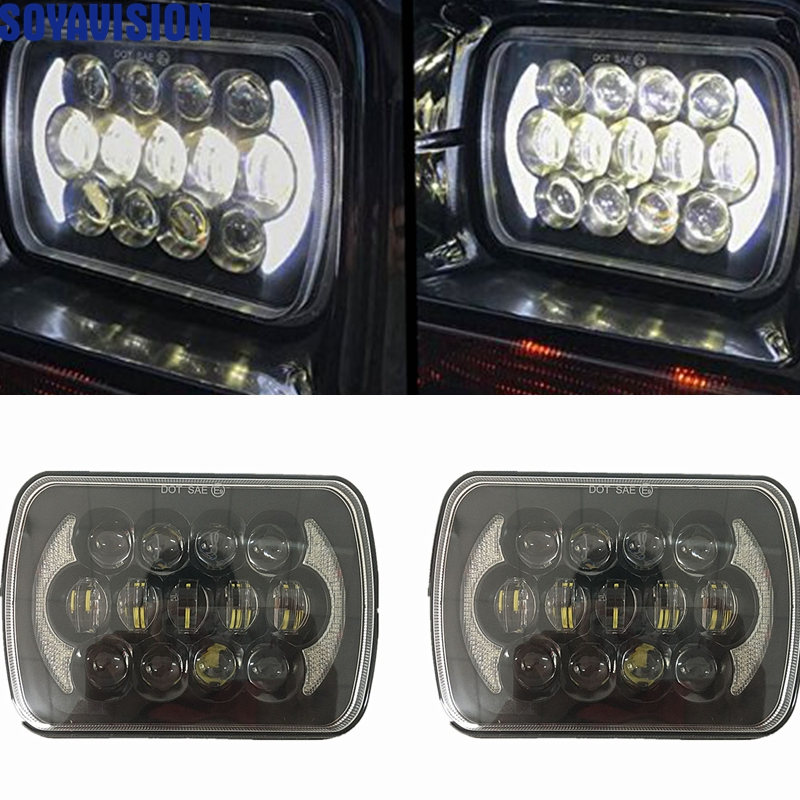 pair 5x7 7x6 inch led headlight 7 inch 105W headlamp replacements for 1986-1995 Jeep Wrangler YJ and 1984-2001 Jeep Cherokee XJ.jpgp.Gjpg.jYpg.jPpg
