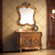 bronze color oak cabinet and mirror, wood grain yellow marble, single hole and single basin bathroom vanities