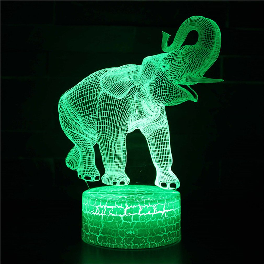 Gifts Elephant Series Touch Base 3D Night Light Home Bedroom Table Night Light Acrylic Panel USB Cable Change Lamp For Kids