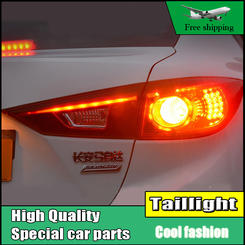 Car Styling TailLight Case For Mazda 3 Axela Sedan 2014 2015 2016 Taillights LED Tail Lamp Rear Lamp DRL+Brake+Park+Signal light car styling tail light case for suzuki swift taillights 2005 2014 led tail lamp rear lamp drl brake park signal light