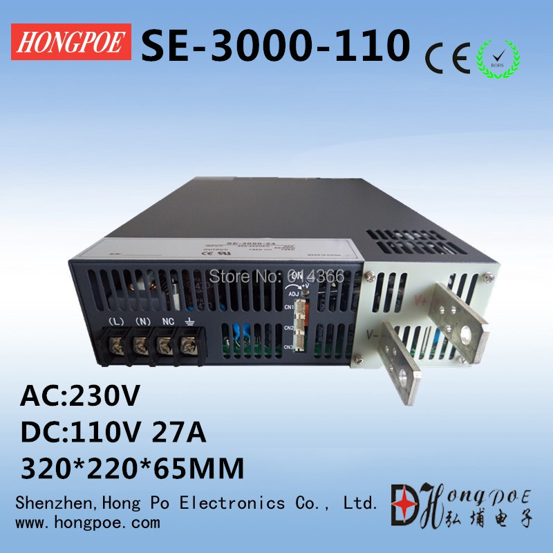 3000W 110V27A DC 0-110v power supply 110V 27A AC-DC High-Power PSU 0-5V analog signal control se-3000-110 DC110V industrial grade 3000w dc 0 24v power supply 24v 125a ac dc high power psu 0 5v analog signal control n 1