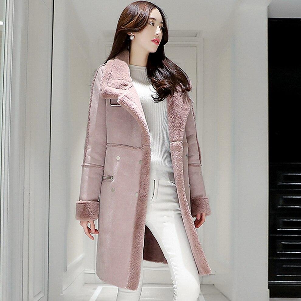 Chameau Manteau Color Boodinerinle Grand Tissu Moyen Qualité 2017 Revers Suède Lâche Long De My064 Xxl lotus Gray Mode Haute Col Femmes D'hiver X1xg1nw6q