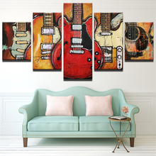 Modern Canvas Painting HD Printed Wall Art Frame Modular Pictures Living Room Decor 5 Pieces Abstract Guitar Music Poster