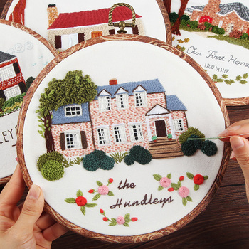 Landscape Embroidery Kits,Needlework Cross Stitch Kit Embroidery Sets with Frame, Swing Craft Painting Wall Art Home Decoration embroidery