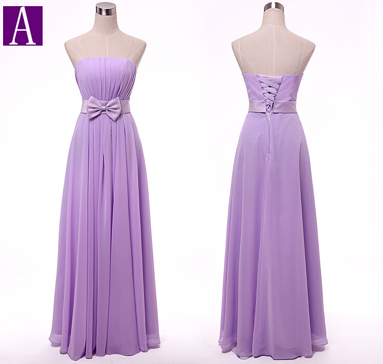 Image 5 - women robe mariage sister of the bride plus size lavender woman bridesmaid dresses long strapless light purple lilac dress gown-in Bridesmaid Dresses from Weddings & Events
