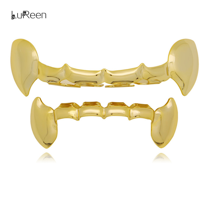 LuReen Half Vampire Fang Gold Teeth Grills Set Top Bottom Dental Grillz Tooth Caps para mujeres hombres Cosplay Body Jewelry