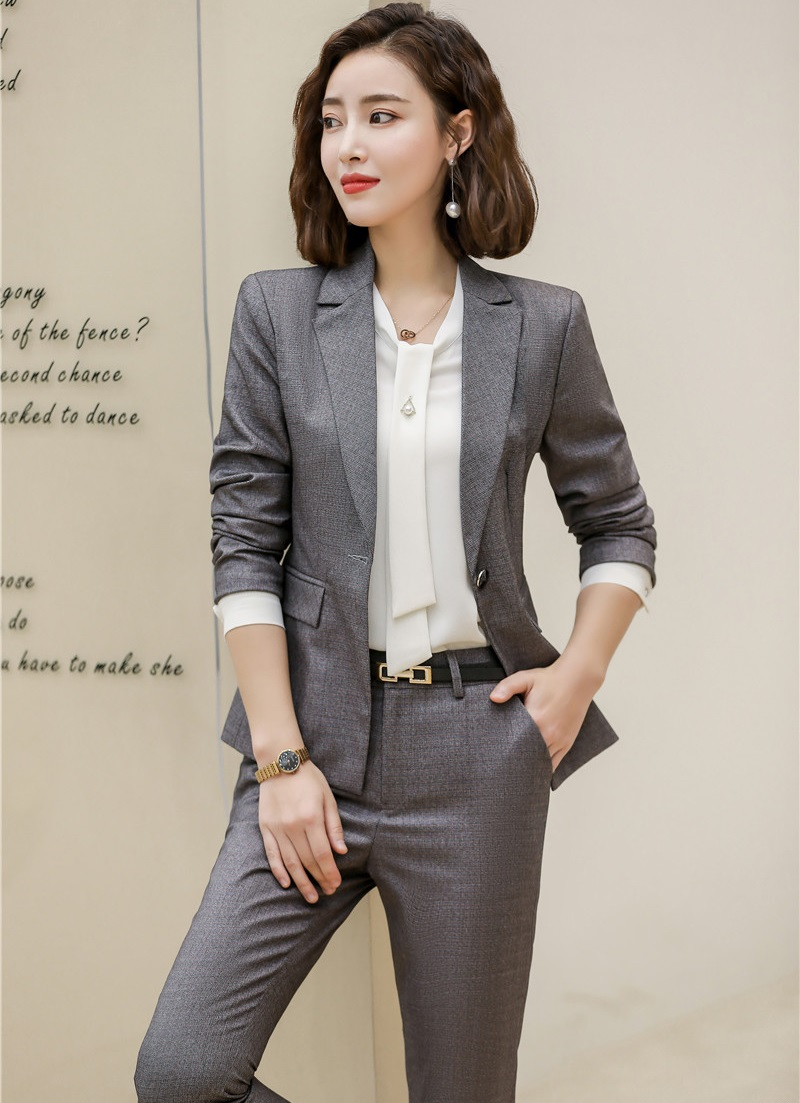 High Quality Fabric Formal Uniform Designs Women Business Suits 2019 Spring Autumn Ladies Office Professional Pants Suits