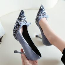 Женские туфли лодочки из флока с острым носком без застежек