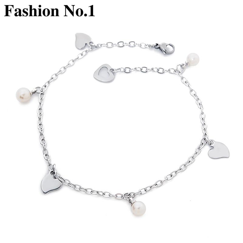 2017 NEW Elegant Love Heart Charm Anklet Foot Bracelets Fashion Women Ankles Sliver Plated Bead Feminina