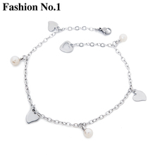 2017 NEW Elegant Love Heart Charm Anklet Foot Bracelets Fashion Women Ankles Sliver Plated Bead Feminina Jewelry Free Shipping